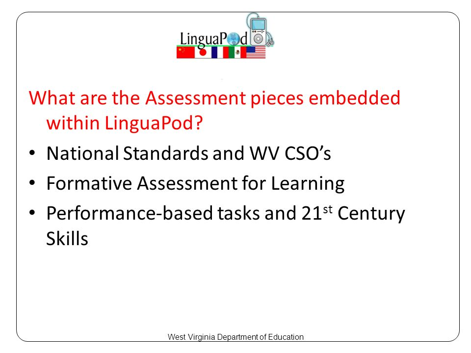What are the Assessment pieces embedded within LinguaPod.