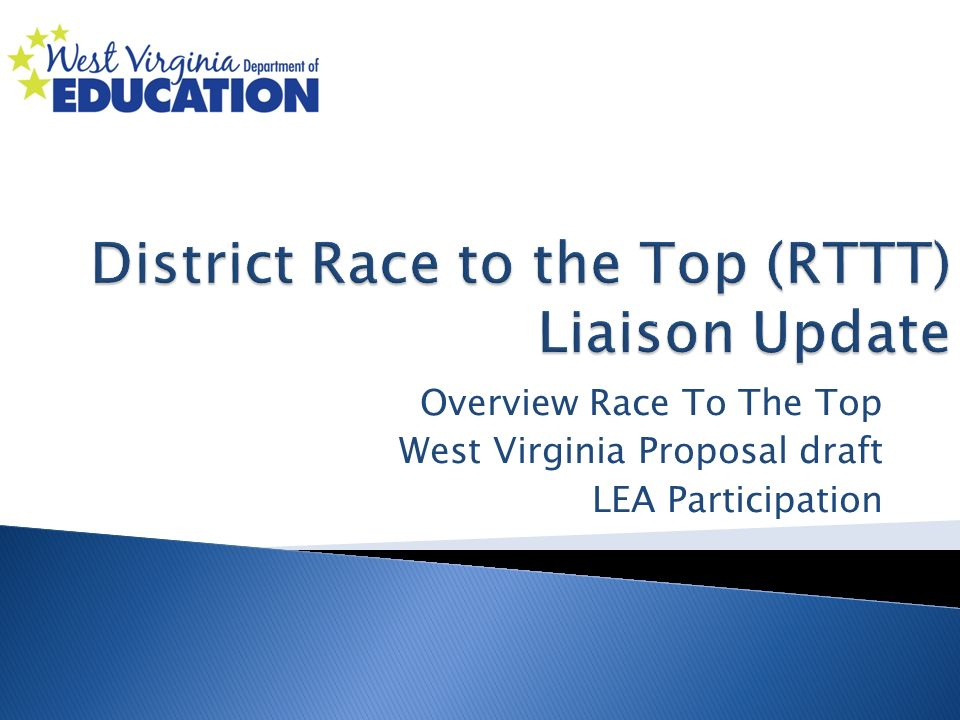 Overview Race To The Top West Virginia Proposal draft LEA Participation