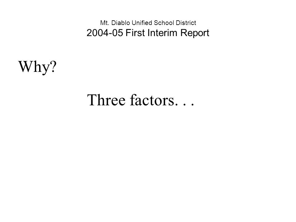 Why? Three factors...