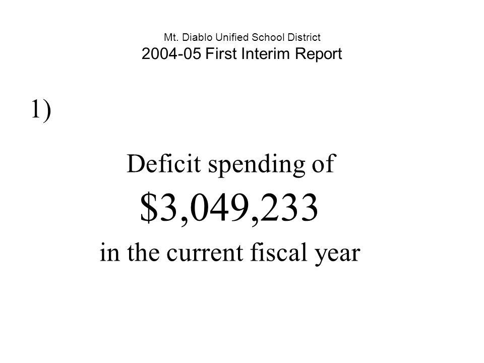 Mt. Diablo Unified School District 2004-05 First Interim Report 1) Deficit spending of $3,049,233 in the current fiscal year