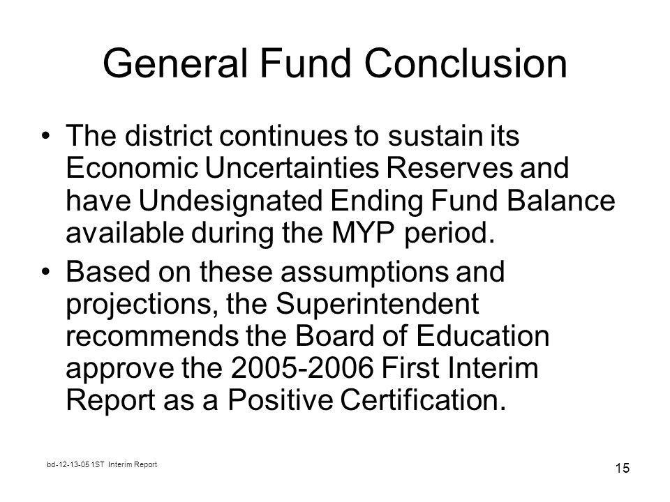 bd ST Interim Report 15 General Fund Conclusion The district continues to sustain its Economic Uncertainties Reserves and have Undesignated Ending Fund Balance available during the MYP period.