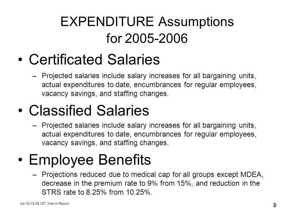 bd ST Interim Report 9 EXPENDITURE Assumptions for Certificated Salaries –Projected salaries include salary increases for all bargaining units, actual expenditures to date, encumbrances for regular employees, vacancy savings, and staffing changes.