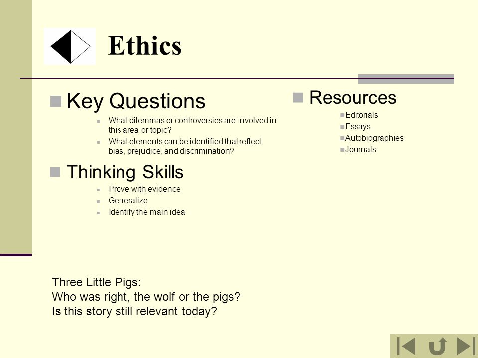 Ethics Key Questions What dilemmas or controversies are involved in this area or topic? What elements can be identified that reflect bias, prejudice,