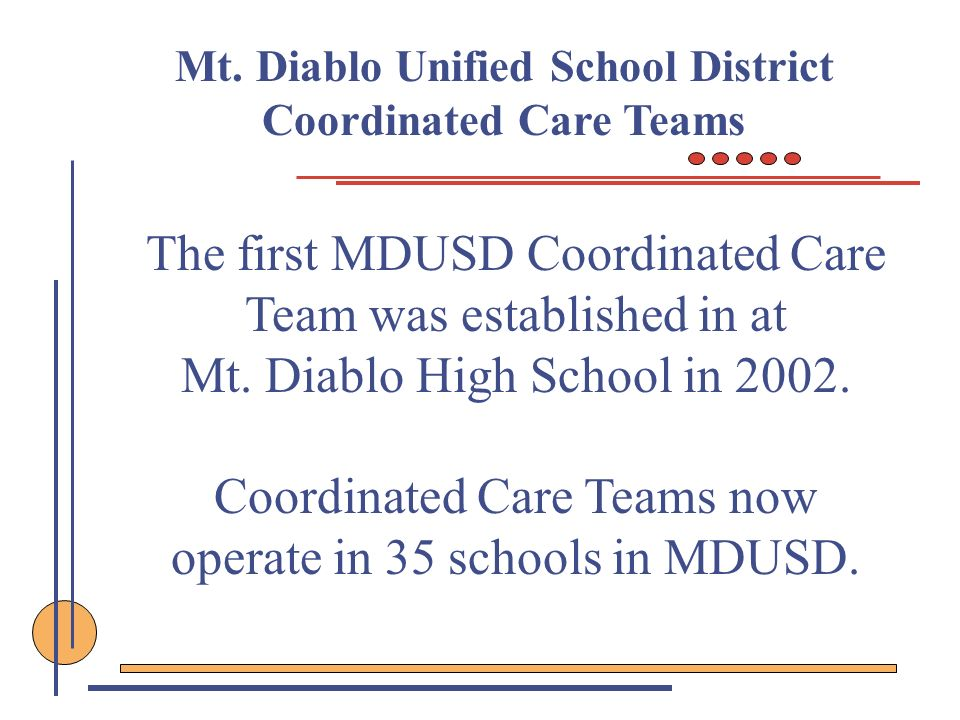 Mt. Diablo Unified School District Coordinated Care Teams The first MDUSD Coordinated Care Team was established in at Mt. Diablo High School in 2002.