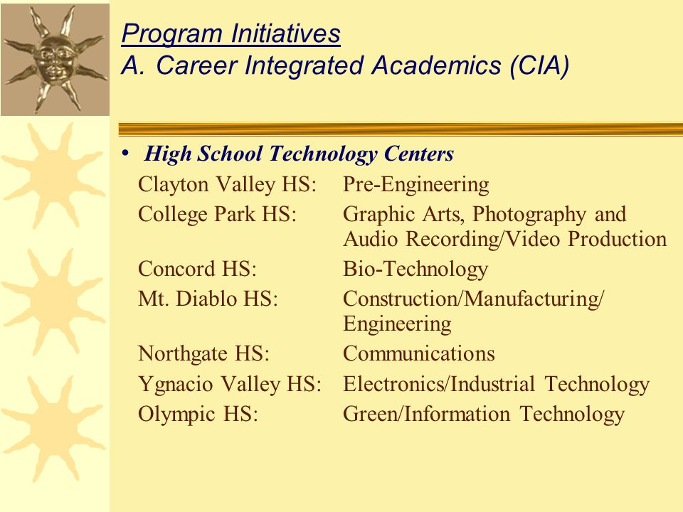 High School Technology Centers Clayton Valley HS:Pre-Engineering College Park HS:Graphic Arts, Photography and Audio Recording/Video Production Concord HS:Bio-Technology Mt.