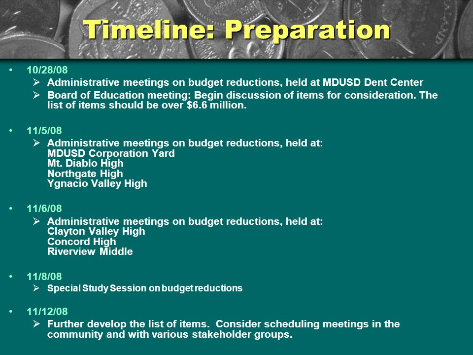 Timeline: Preparation 10/28/08 Administrative meetings on budget reductions, held at MDUSD Dent Center Board of Education meeting: Begin discussion of items for consideration.