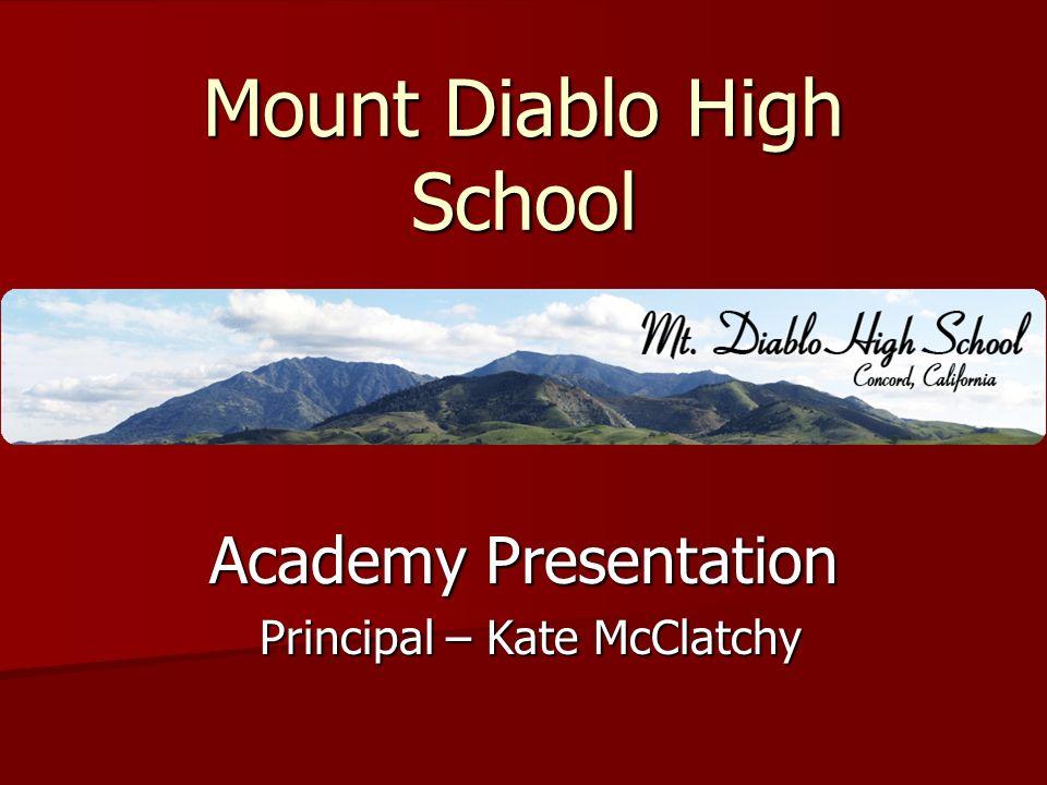 Mount Diablo High School Academy Presentation Principal – Kate McClatchy Principal – Kate McClatchy