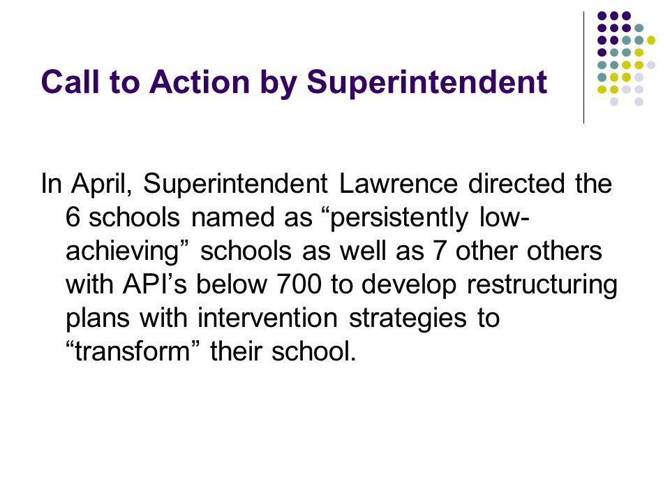 Call to Action by Superintendent In April, Superintendent Lawrence directed the 6 schools named as persistently low- achieving schools as well as 7 other others with APIs below 700 to develop restructuring plans with intervention strategies to transform their school.