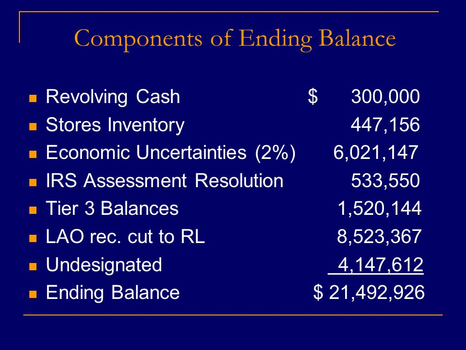 Components of Ending Balance Revolving Cash$ 300,000 Stores Inventory 447,156 Economic Uncertainties (2%) 6,021,147 IRS Assessment Resolution 533,550 Tier 3 Balances 1,520,144 LAO rec.