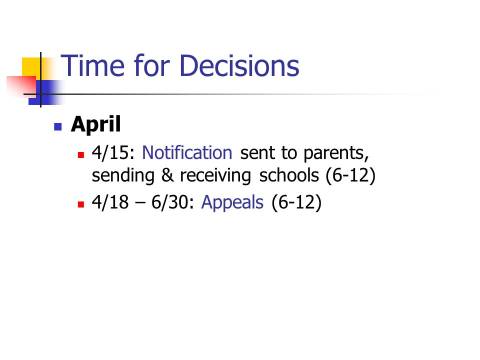 Time for Decisions April 4/15: Notification sent to parents, sending & receiving schools (6-12) 4/18 – 6/30: Appeals (6-12)