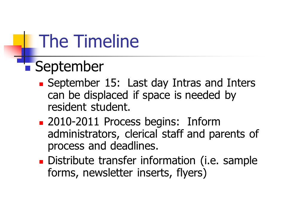 The Timeline September September 15: Last day Intras and Inters can be displaced if space is needed by resident student. 2010-2011 Process begins: Inf