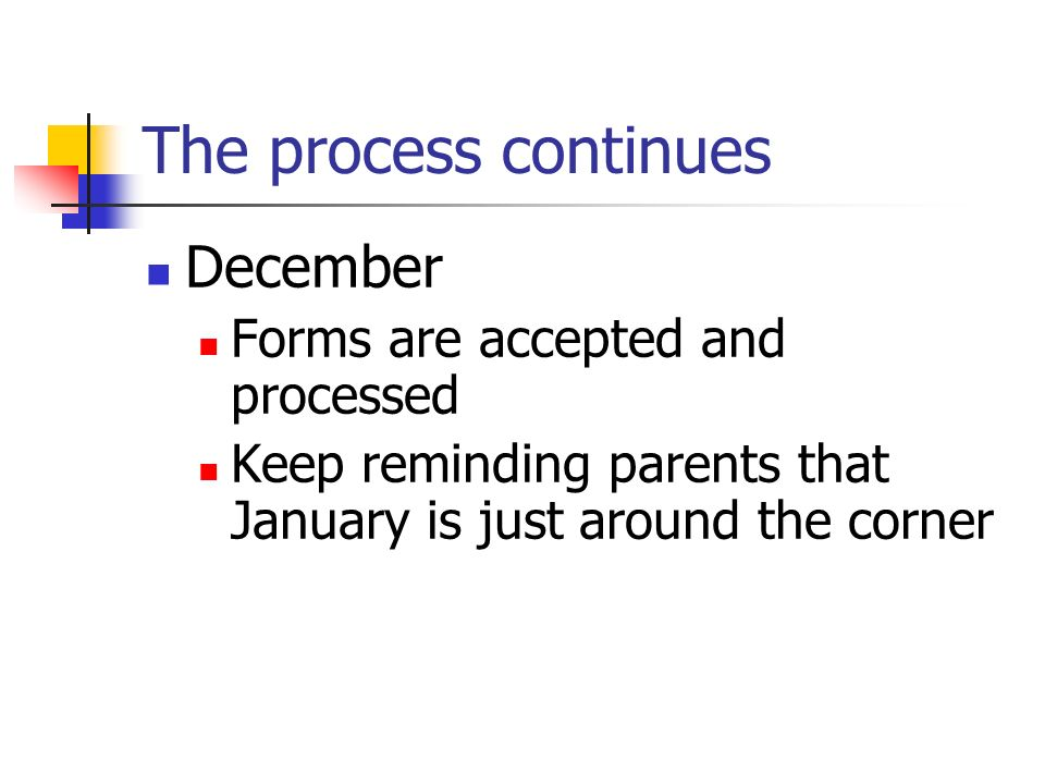 The process continues December Forms are accepted and processed Keep reminding parents that January is just around the corner