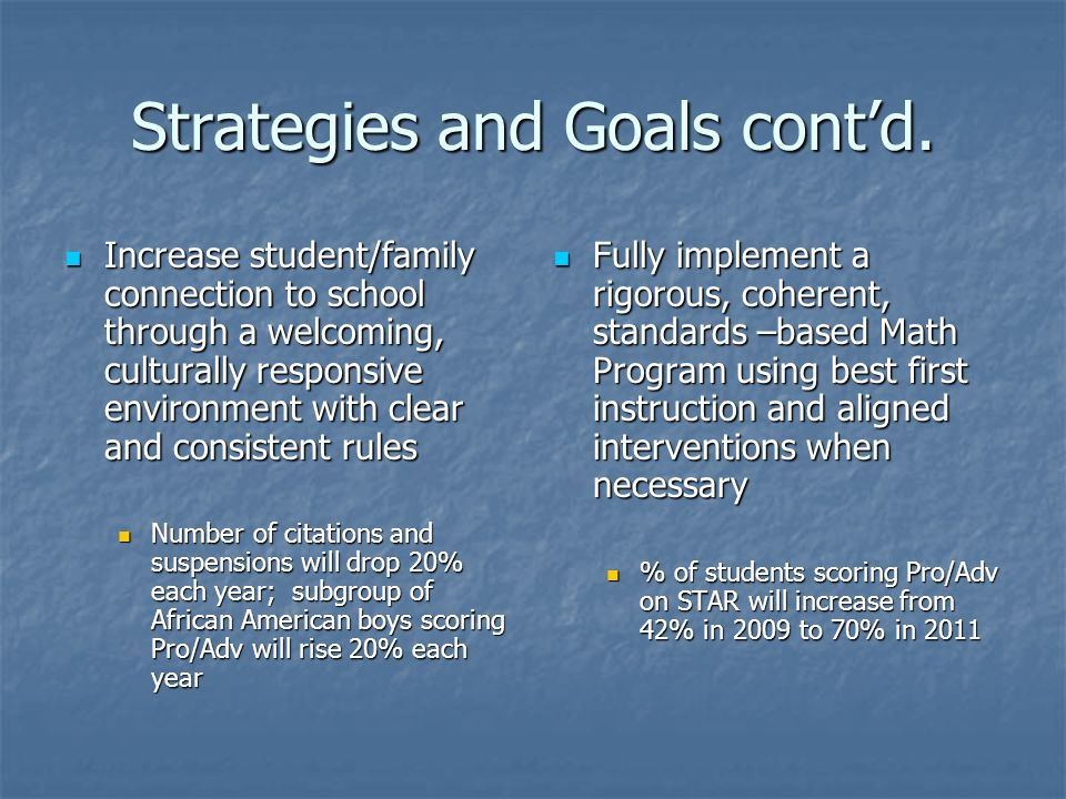 Strategies and Goals contd.