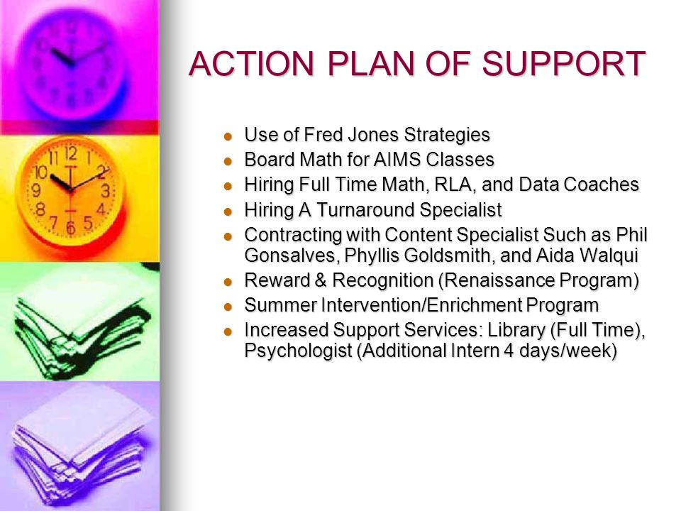 ACTION PLAN OF SUPPORT Use of Fred Jones Strategies Use of Fred Jones Strategies Board Math for AIMS Classes Board Math for AIMS Classes Hiring Full Time Math, RLA, and Data Coaches Hiring Full Time Math, RLA, and Data Coaches Hiring A Turnaround Specialist Hiring A Turnaround Specialist Contracting with Content Specialist Such as Phil Gonsalves, Phyllis Goldsmith, and Aida Walqui Contracting with Content Specialist Such as Phil Gonsalves, Phyllis Goldsmith, and Aida Walqui Reward & Recognition (Renaissance Program) Reward & Recognition (Renaissance Program) Summer Intervention/Enrichment Program Summer Intervention/Enrichment Program Increased Support Services: Library (Full Time), Psychologist (Additional Intern 4 days/week) Increased Support Services: Library (Full Time), Psychologist (Additional Intern 4 days/week)