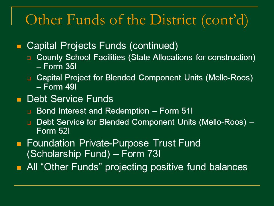 Other Funds of the District Funds for special purposes excluded from the General Fund Special Revenue Funds Charter School – Form 09I Adult Education