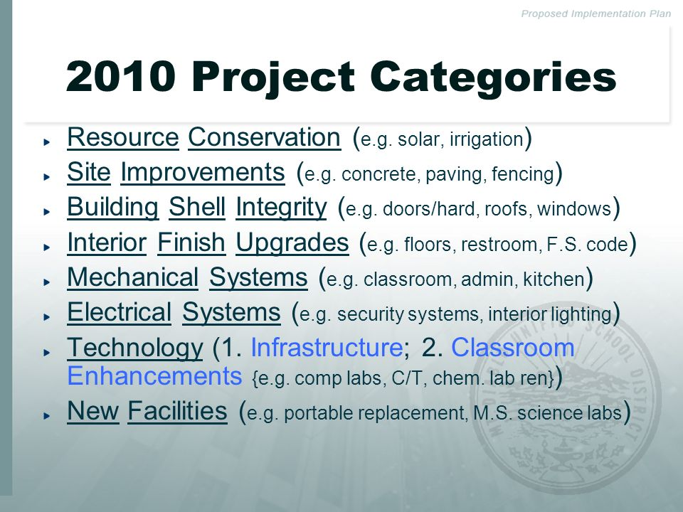 2010 Project Categories Resource Conservation ( e.g.