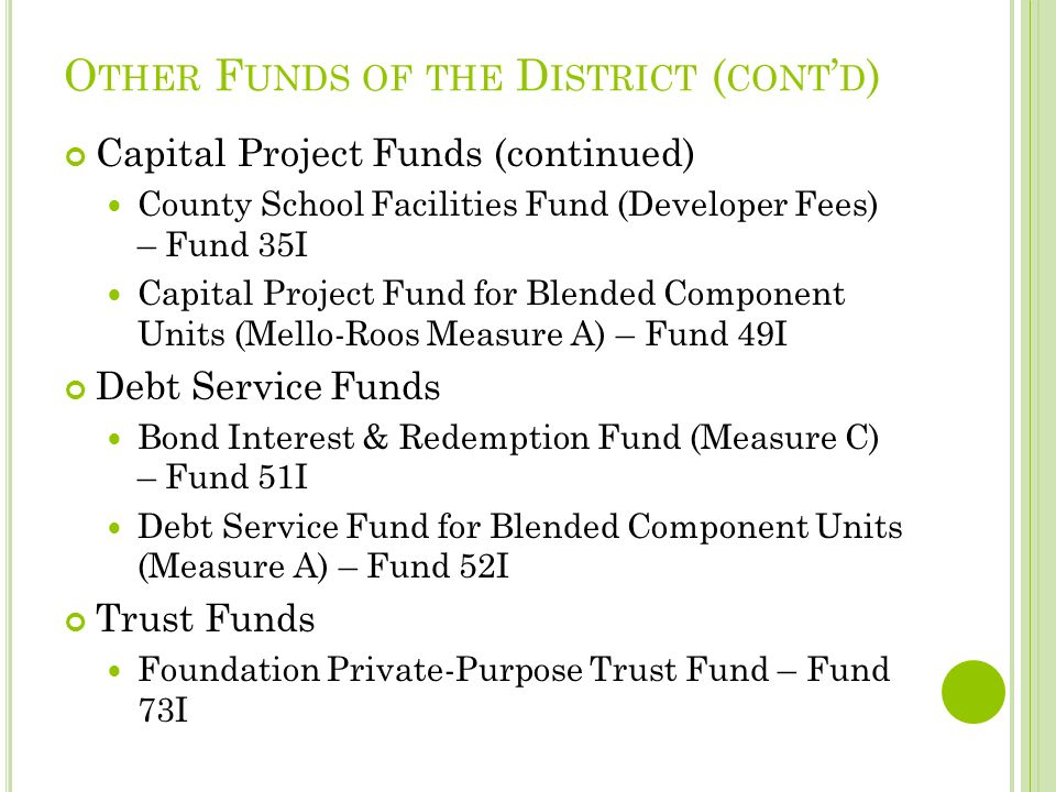 O THER F UNDS OF THE D ISTRICT ( CONT D ) Capital Project Funds (continued) County School Facilities Fund (Developer Fees) – Fund 35I Capital Project Fund for Blended Component Units (Mello-Roos Measure A) – Fund 49I Debt Service Funds Bond Interest & Redemption Fund (Measure C) – Fund 51I Debt Service Fund for Blended Component Units (Measure A) – Fund 52I Trust Funds Foundation Private-Purpose Trust Fund – Fund 73I