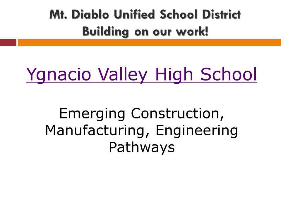 Ygnacio Valley High School Emerging Construction, Manufacturing, Engineering Pathways Mt.