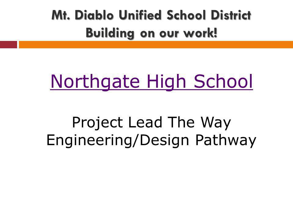 Northgate High School Project Lead The Way Engineering/Design Pathway Mt. Diablo Unified School District Building on our work!