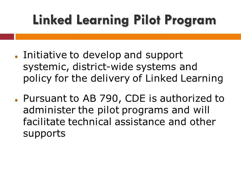Linked Learning Pilot Program Initiative to develop and support systemic, district-wide systems and policy for the delivery of Linked Learning Pursuan