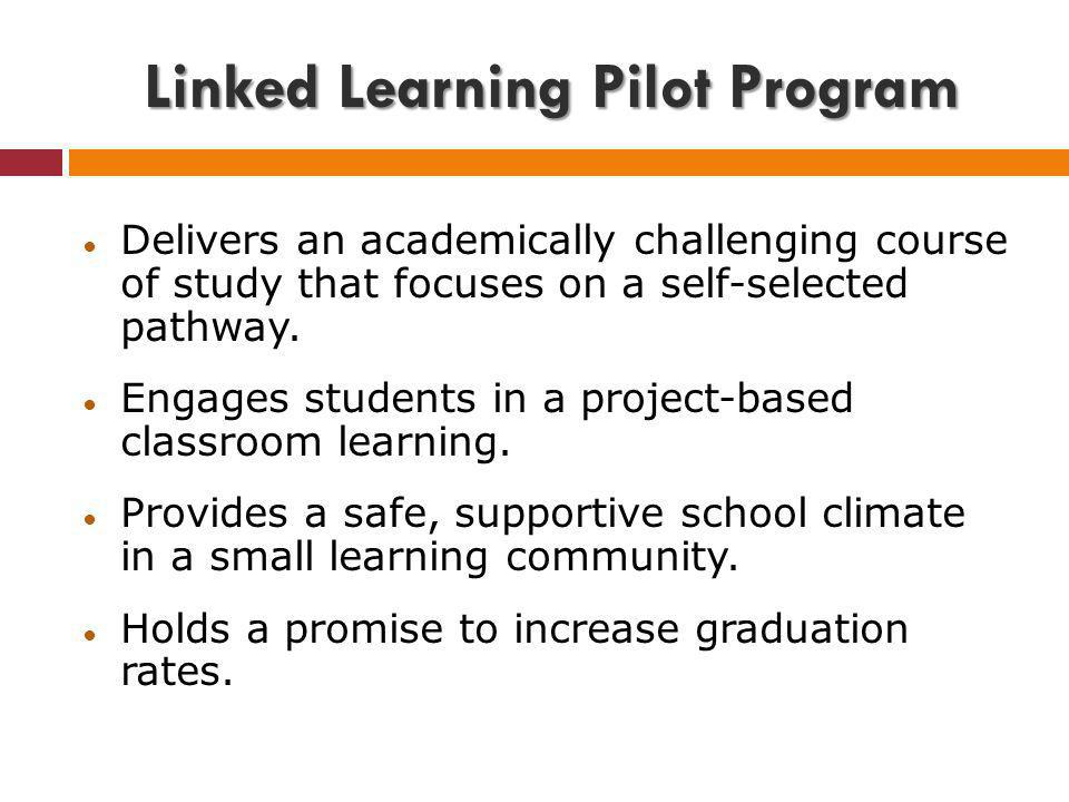 Delivers an academically challenging course of study that focuses on a self-selected pathway. Engages students in a project-based classroom learning.