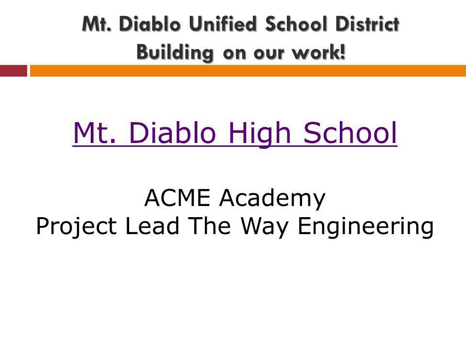 Mt.Diablo Unified School District Building on our work.