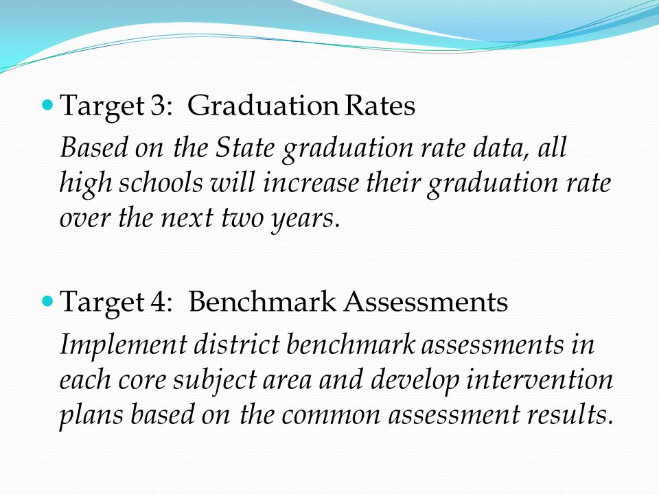 Target 3: Graduation Rates Based on the State graduation rate data, all high schools will increase their graduation rate over the next two years. Targ