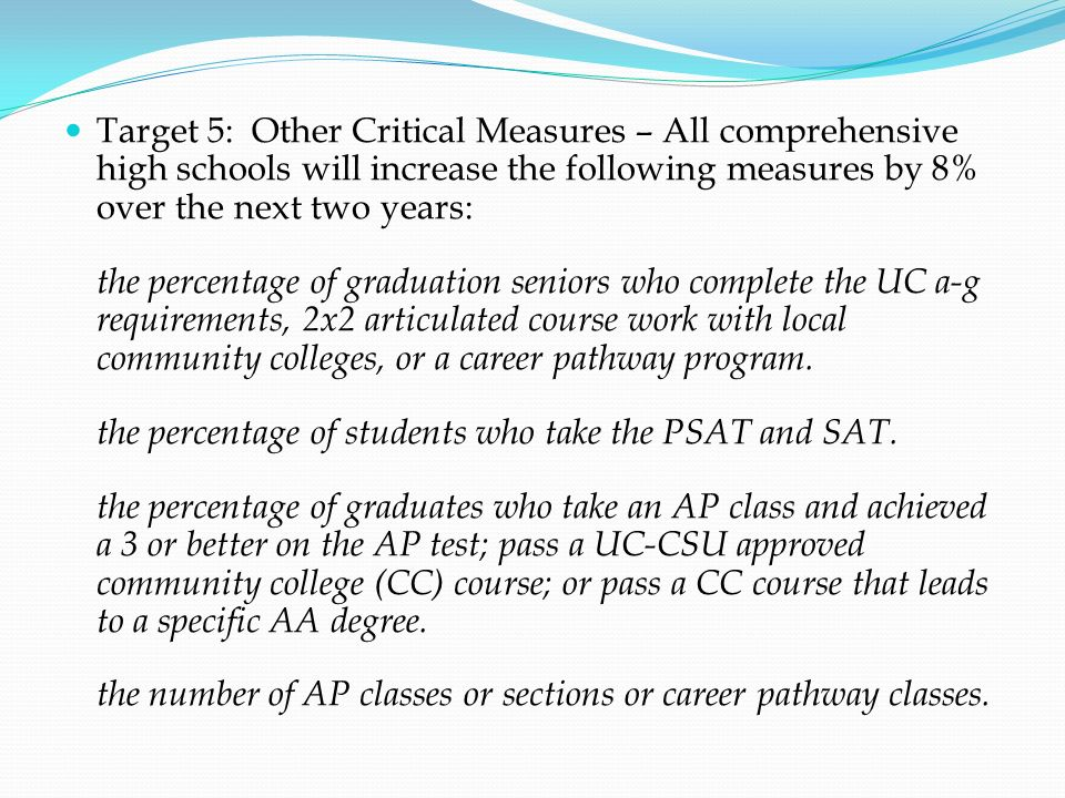 Target 5: Other Critical Measures – All comprehensive high schools will increase the following measures by 8% over the next two years: the percentage