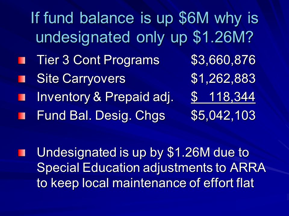 If fund balance is up $6M why is undesignated only up $1.26M? Tier 3 Cont Programs$3,660,876 Site Carryovers$1,262,883 Inventory & Prepaid adj.$ 118,3