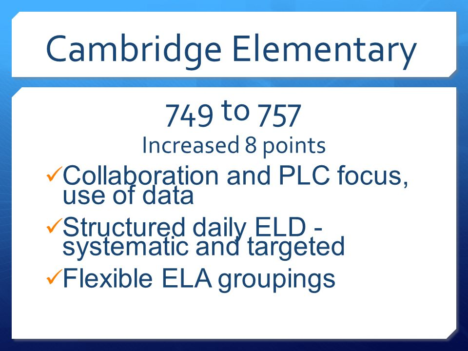 Cambridge Elementary 749 to 757 Increased 8 points Collaboration and PLC focus, use of data Structured daily ELD - systematic and targeted Flexible EL