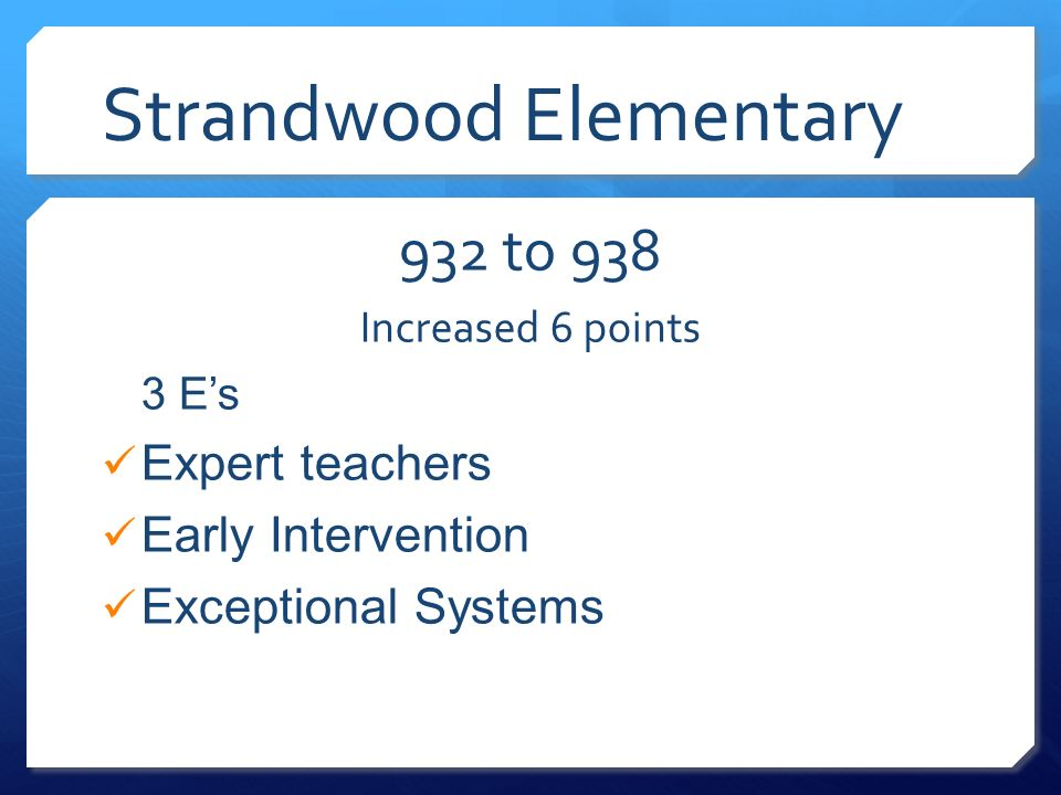Strandwood Elementary 932 to 938 Increased 6 points 3 Es Expert teachers Early Intervention Exceptional Systems