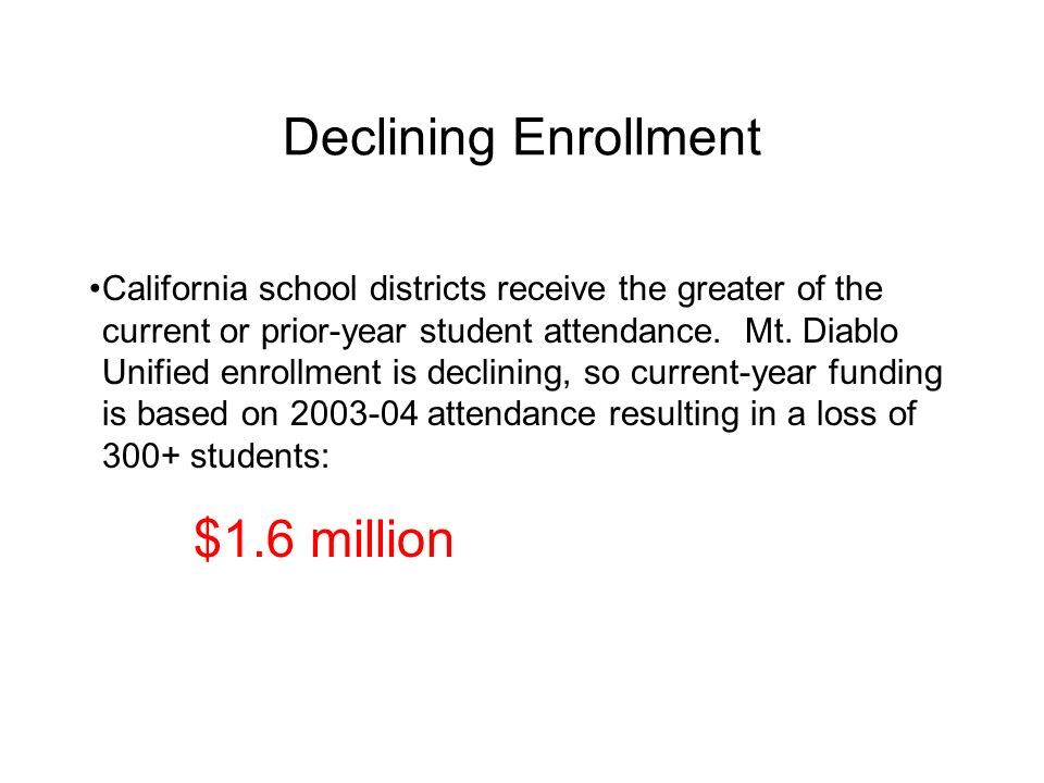 Declining Enrollment California school districts receive the greater of the current or prior-year student attendance. Mt. Diablo Unified enrollment is