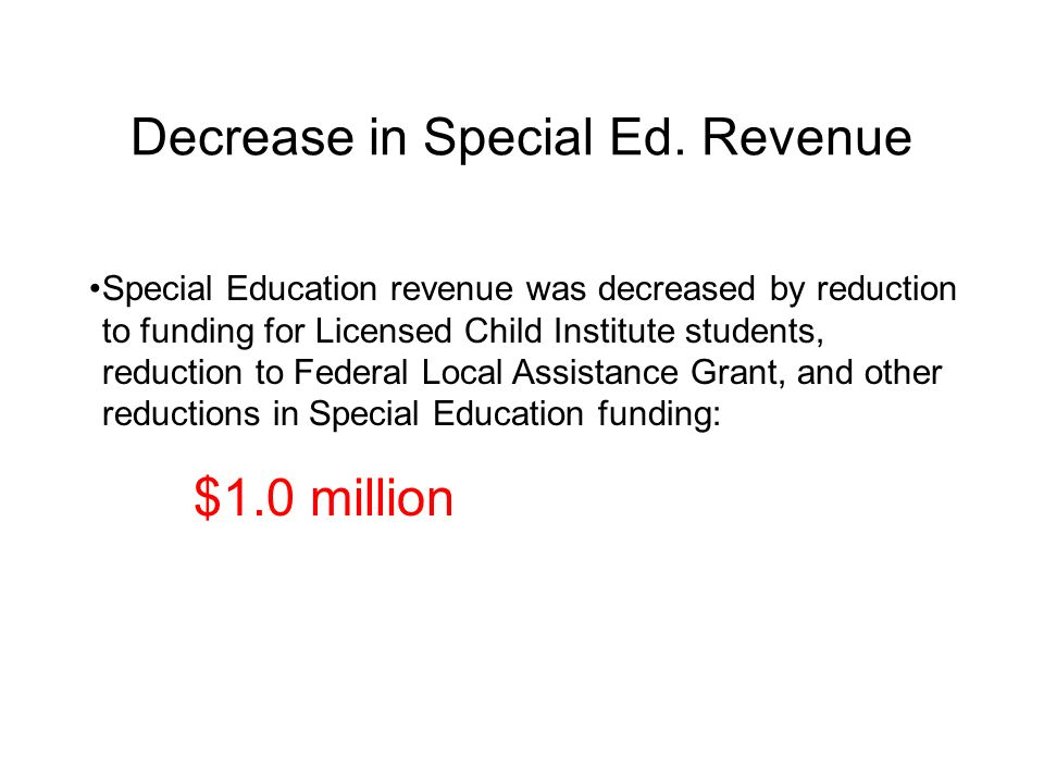 Decrease in Special Ed. Revenue Special Education revenue was decreased by reduction to funding for Licensed Child Institute students, reduction to Fe
