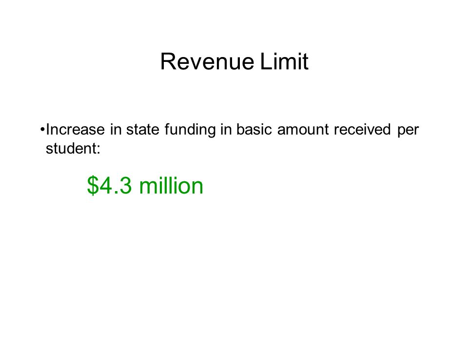 Revenue Limit Increase in state funding in basic amount received per student: $4.3 million