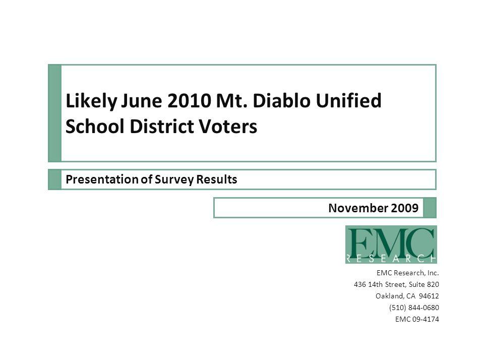 Mt.Diablo Unified School District EMC 09-4174 2 Likely June 2010 voters in Mt.