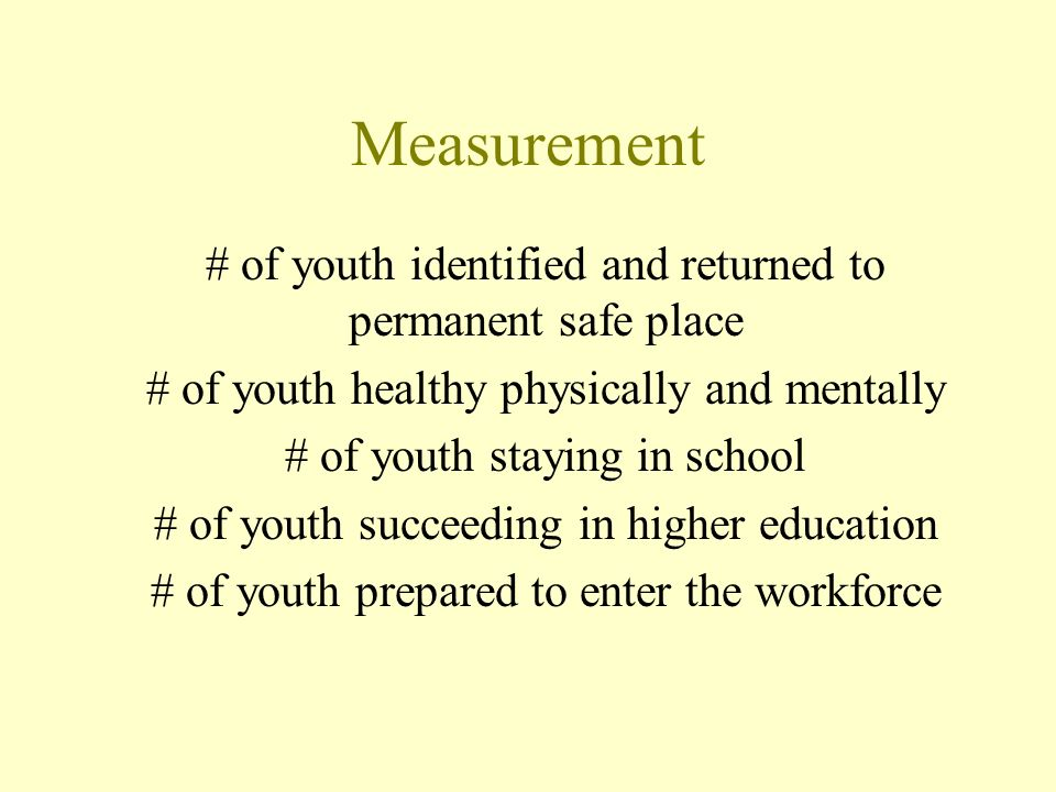 Measurement # of youth identified and returned to permanent safe place # of youth healthy physically and mentally # of youth staying in school # of youth succeeding in higher education # of youth prepared to enter the workforce