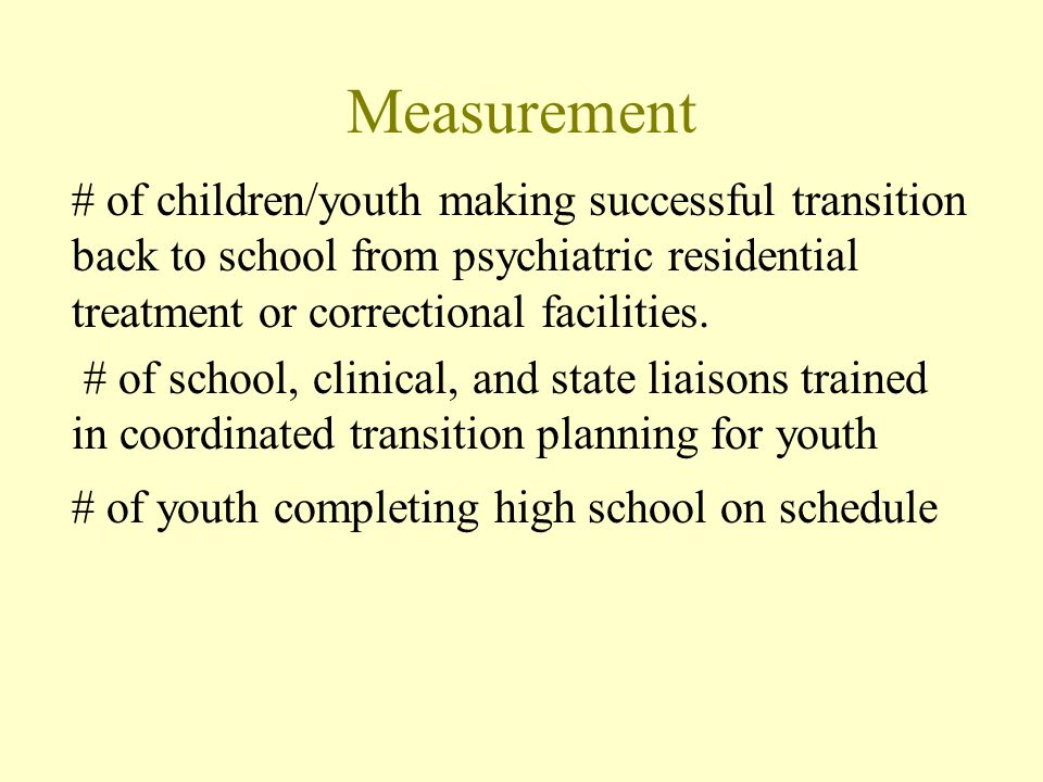 Measurement # of children/youth making successful transition back to school from psychiatric residential treatment or correctional facilities.