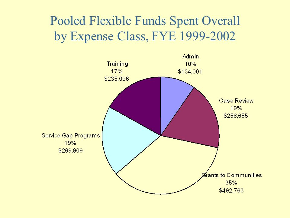 Pooled Flexible Funds Spent Overall by Expense Class, FYE 1999-2002