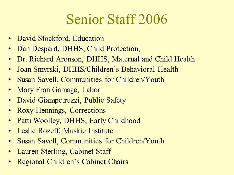 Senior Staff 2006 David Stockford, Education Dan Despard, DHHS, Child Protection, Dr. Richard Aronson, DHHS, Maternal and Child Health Joan Smyrski, D