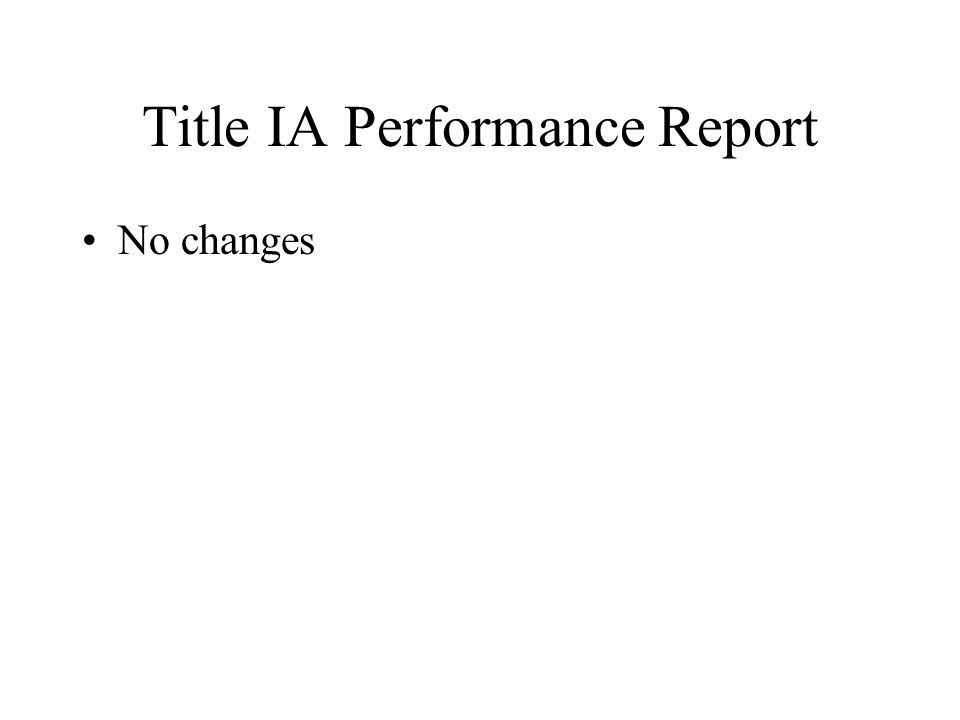 Title IA Performance Report No changes