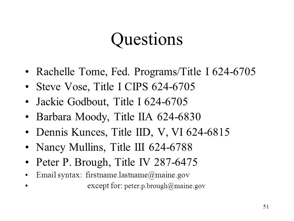 51 Questions Rachelle Tome, Fed.
