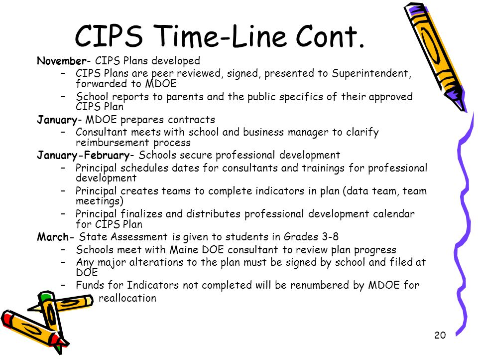 20 CIPS Time-Line Cont. November- CIPS Plans developed –CIPS Plans are peer reviewed, signed, presented to Superintendent, forwarded to MDOE –School r