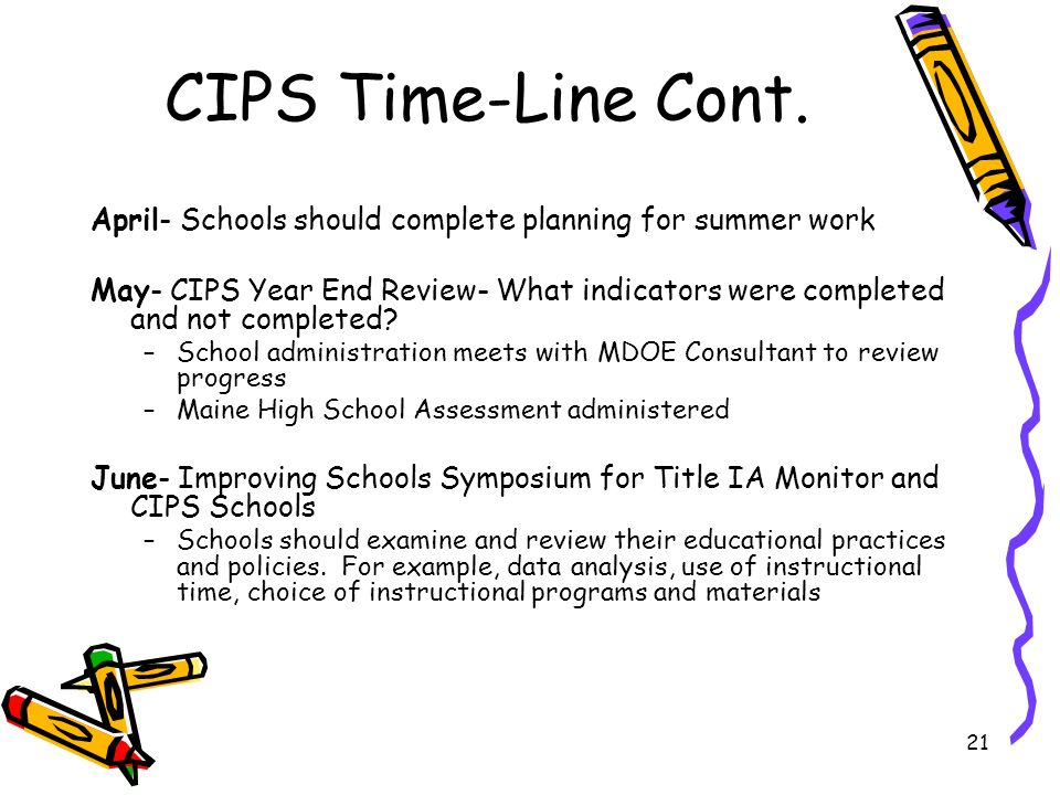 21 CIPS Time-Line Cont. April- Schools should complete planning for summer work May- CIPS Year End Review- What indicators were completed and not comp
