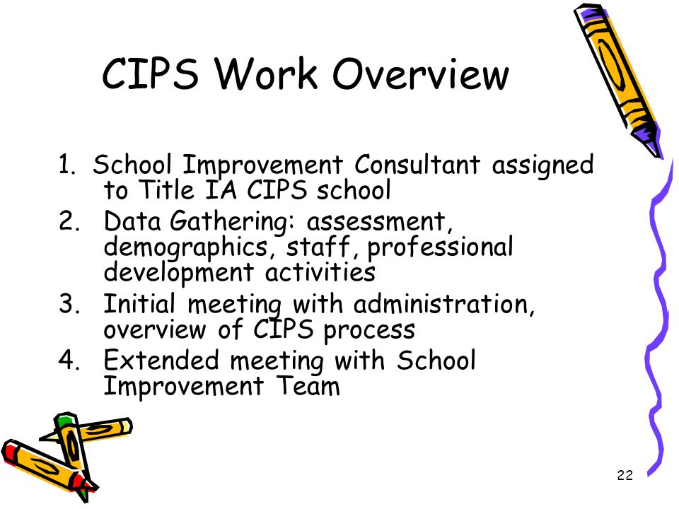 22 CIPS Work Overview 1. School Improvement Consultant assigned to Title IA CIPS school 2.Data Gathering: assessment, demographics, staff, professiona