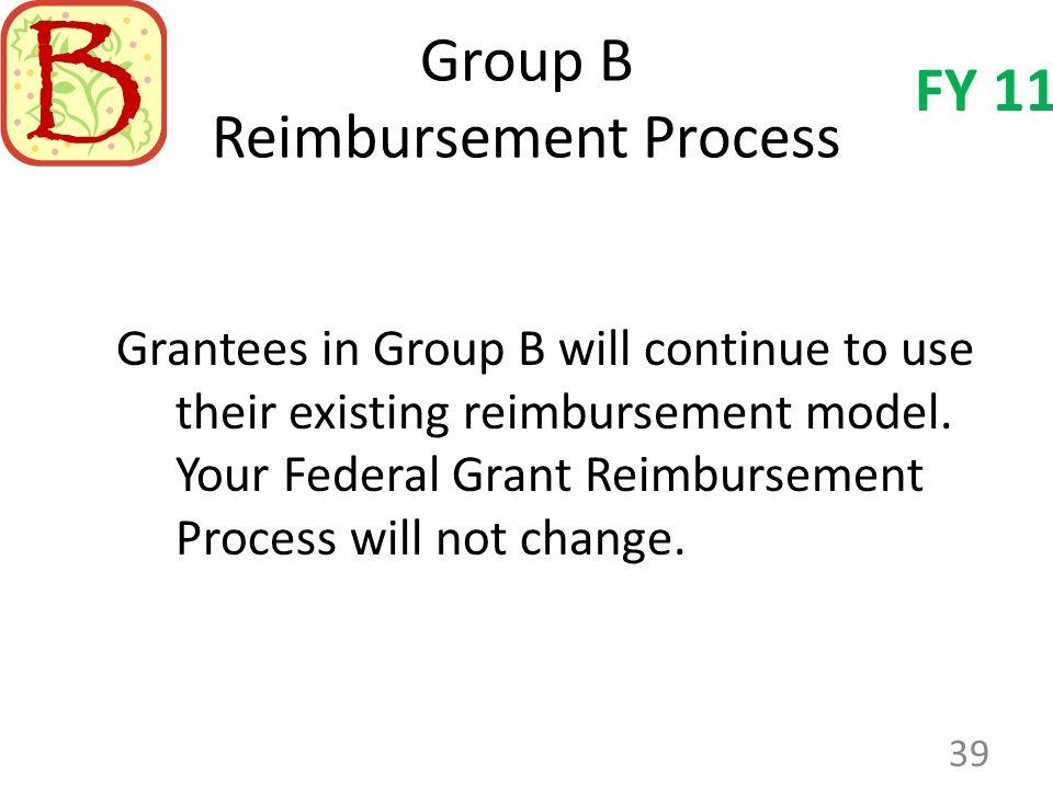 Group B Reimbursement Process Grantees in Group B will continue to use their existing reimbursement model.