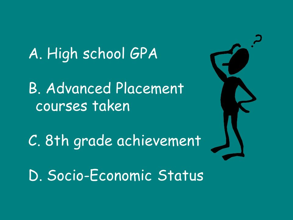 A. High school GPA B. Advanced Placement courses taken C.
