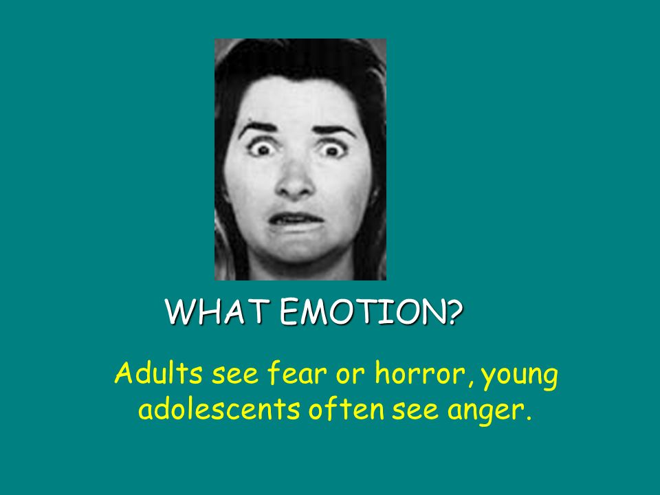 WHAT EMOTION Adults see fear or horror, young adolescents often see anger.