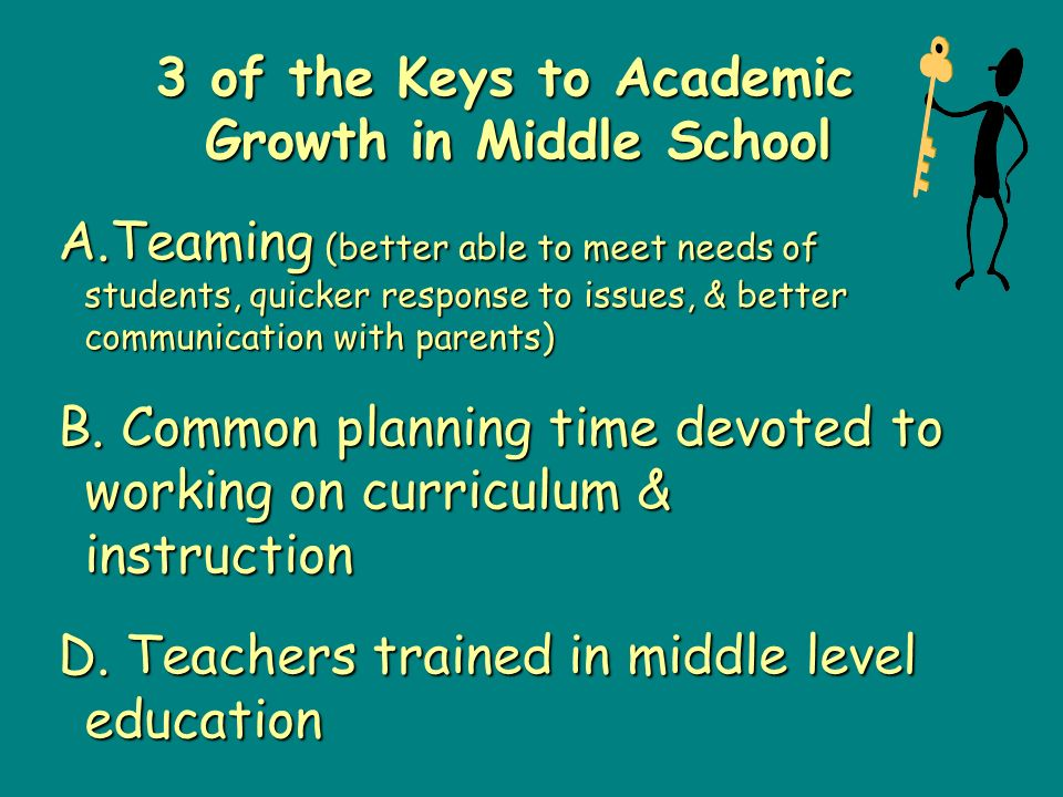 3 of the Keys to Academic Growth in Middle School A.Teaming (better able to meet needs of students, quicker response to issues, & better communication with parents) B.