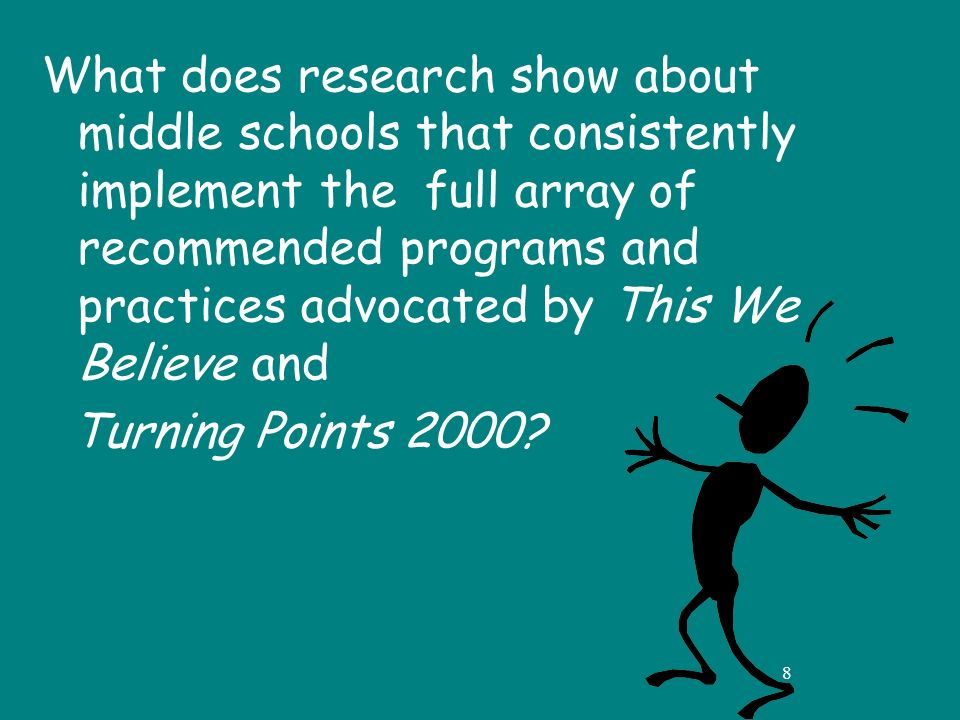 8 What does research show about middle schools that consistently implement the full array of recommended programs and practices advocated by This We Believe and Turning Points 2000