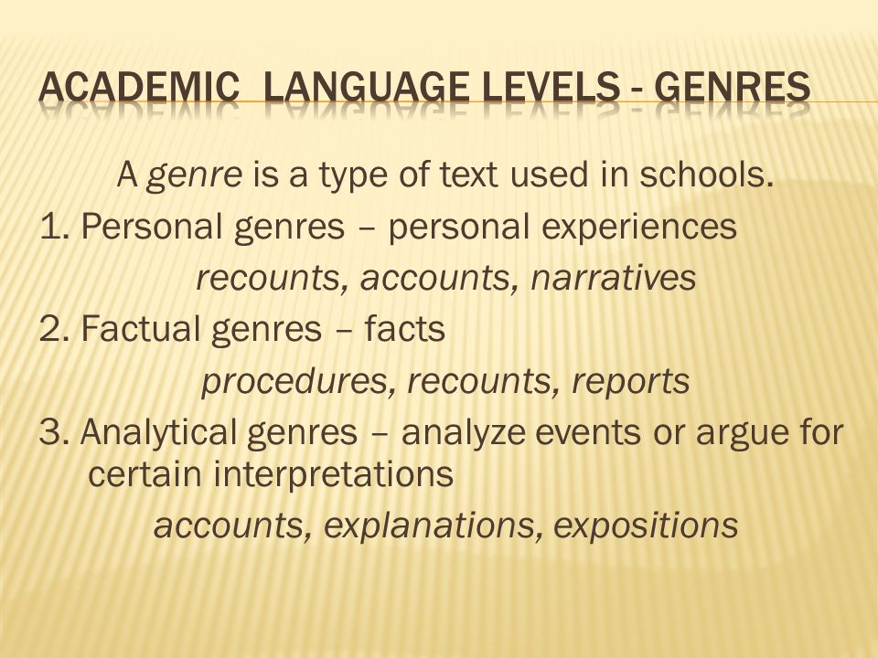 A genre is a type of text used in schools. 1.